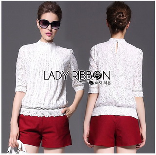 Lady Ribbon Online เสื้อผ้าออนไลน์ขายส่ง Lady Ribbon เสื้อผ้า LR02180816 &#x1F380 Lady Ribbon's Made &#x1F380 Lady Alessandra White Lace Blouse เสื้อลูกไม้
