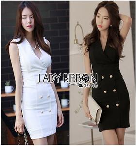 Lady Ribbon Suit Dress สูทเดรสแขนกุด