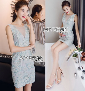 Lady Ribbon Pastel Flower Embroidered Tulle Mini Dress