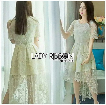 Lace Dress Lady Ribbon ขายเดรส