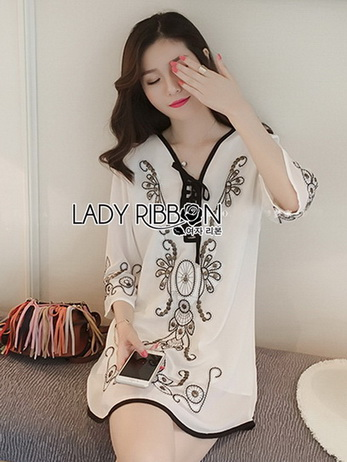Lady Ribbon Chiffon Dress ชุดเดรสผ้าชีฟอง