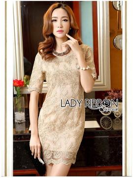 Lady Ribbon Online ขายส่งเสื้อผ้าออนไลน์ เลดี้ริบบอน LR16280716 &#x1F380 Lady Ribbon's Made &#x1F380 Lady Kate Elegant Chic Gold and Pink Lace Dress เดรสผ้าลูกไม้สี