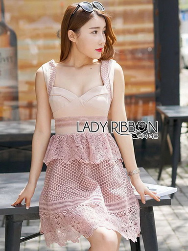 Pink Lace Lady Ribbon Dress