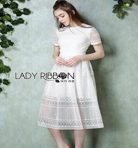 Lady Ribbon Babara Sweet Graphic White Lace Dress