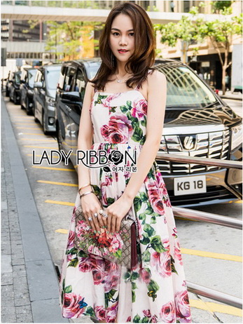 Lady Amy Rose Blossom Printed Crepe Dress