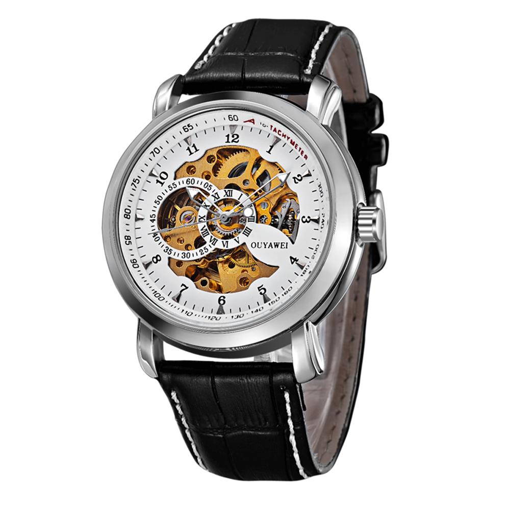 OUYAWEI - OYW13-06-2: นาฬิกาข้อมือออโตเมติคแบบเปลือย หน้าปัดขาว สายหนังแท้