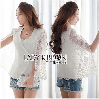 Lady Ribbon Online ขายส่งเสื้อผ้าออนไลน์เลดี้ริบบอน LR14010816 &#x1F380 Lady Ribbon's Made &#x1F380 Lady Maria Elegant Double-Breast White Lace Jacket แจ๊คเก็ต