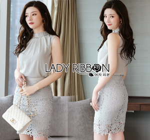 Lady Ribbon Embellished Crepe Top and Lace Skirt