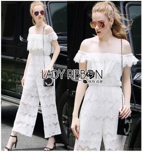 Lady Ribbon Michelle Pure White Lace Jumpsuit