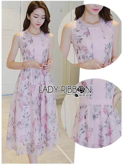 Lady Ribbon Roses Lace ขายเดรสผ้าลูกไม้สีชมพูพาสเทล