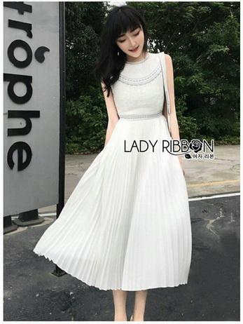 Lady Mia Embroidered Pleated Chiffon Dress