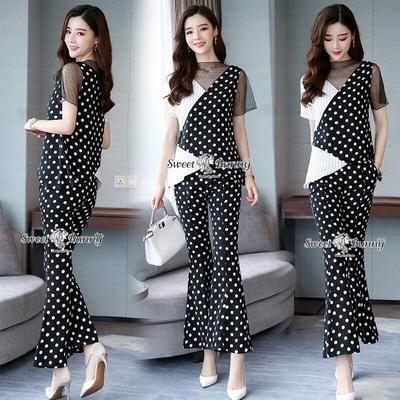 เซ็ทเสื้อ+กางเกงเกาหลีผ้าพิมพ์ลายจุดขาวดำ และลายริ้ว