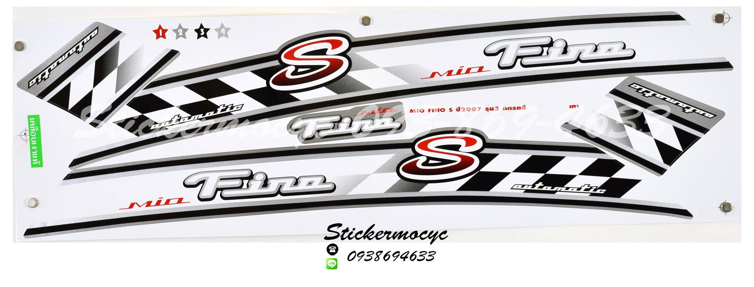 สติ๊กเกอร์ติดรถ มอเตอร์ไซค์ ยามาฮ่า ฟีโน่ S Sticker Yamaha Fino S ปี 2007 รุ่น 3 ติดรถ สีเทา (เคลือบเงา)