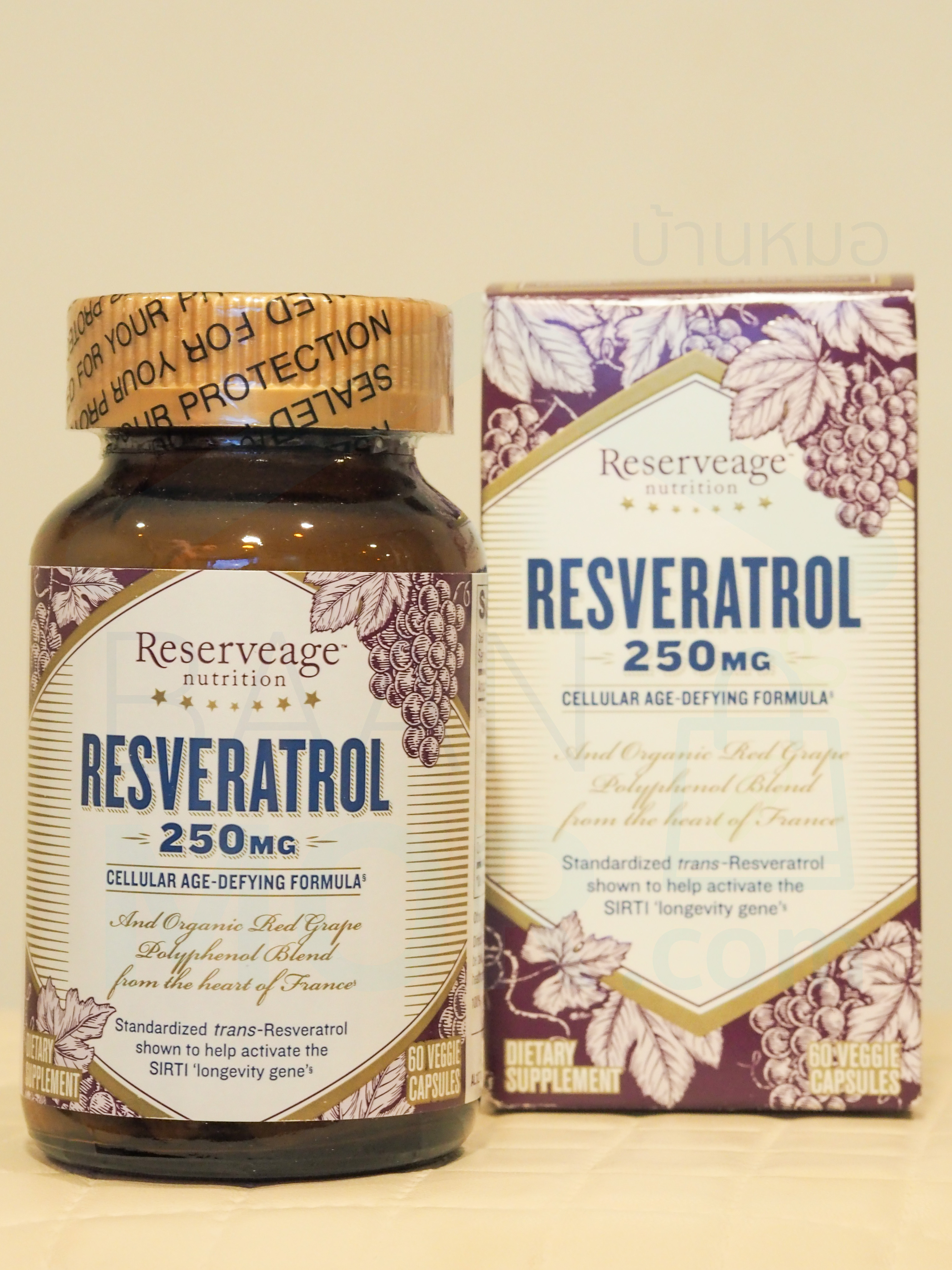 Resveratrol 250 mg 60 Capsules สารต้านอนุมูลอิสระ เรสเวอราทรอล 250 มก 60 แคปซูล และมี Silbinol และ Quercetin ป้องกันการอักเสบ รักษาระดับน้ำตาลและคลอเรสเตอคอลในเลือดให้อยุ่ในระดับปกติ ป้องกันการอุดตันในหลอดเลือด จาก ReserveAge™ Organics