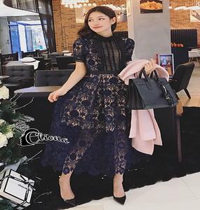 ชุดเดรสฉลุผ้าชีฟองเกาหลี