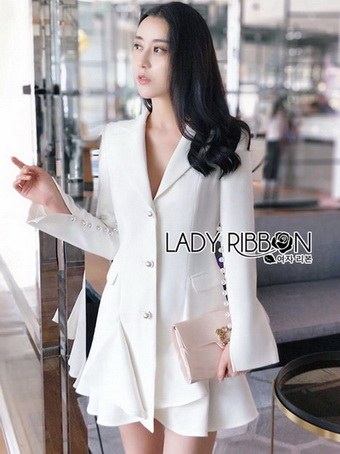 Smart Elegant Lady Ribbon Ruffle Suit