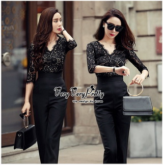 Lady Ribbon Online ขายส่งเสื้อผ้าออนไลน์ Very very pretty VP01030816 Luxury Jumpsuit Lace Fashion Style Korea