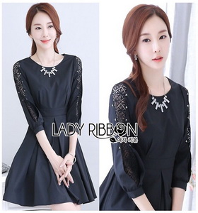 Lady Ribbon Brady Black Cotton Pleated Dress