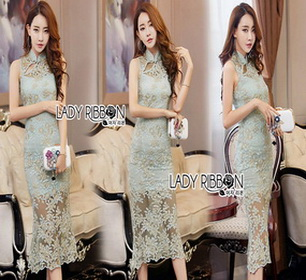 Lady Ribbon Pastel Lace Body Con Dress