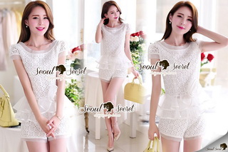 SS12010916 Seoul Secret Say's... Girly Ivory Lace Set Material : เซ็ทหวานๆ สวยๆ