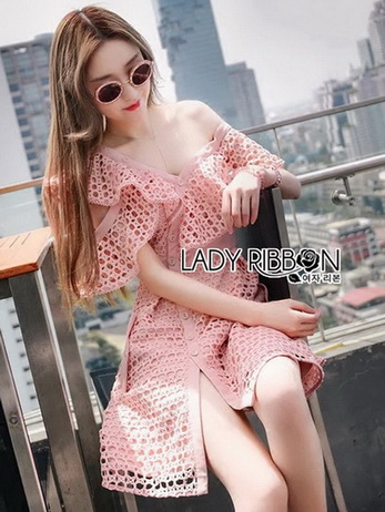 🎀 Lady Ribbon's Made 🎀 Lady Carlie Off-Shoulder Button-Down Bubblegum Pink Lace Dress