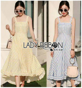 Lady Ribbon Colorful Striped Dress เดรสลายทาง