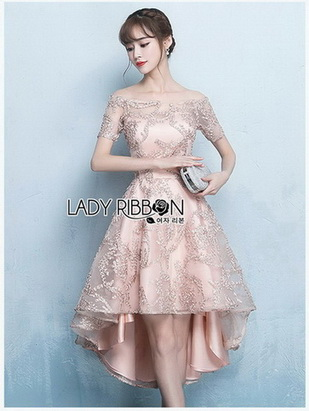 Lady Vanessa Off-Shoulder Lace and Satin Dress
