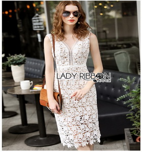 Guipure Lady Ribbon Lace Dress ขายเดรสผ้าลูกไม้