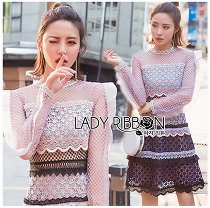 Layered Lace Lady Ribbon Mini Dress