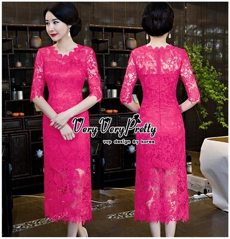 สีชมพูบานเย็นชุดเดรสเกาหลี