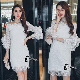 ชุดเดรสเกาหลีสีขาวโบว์