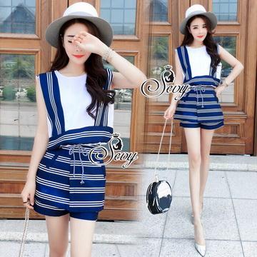 Lady Ribbon Online เสื้อผ้าแฟชั่นออนไลน์ขายส่ง เลดี้ริบบอนของแท้พร้อมส่ง sevy เสื้อผ้า SV01240716 &#x1F389Sevy Two Pieces Of Sleeveless Stripes Edge With Shorts Sets