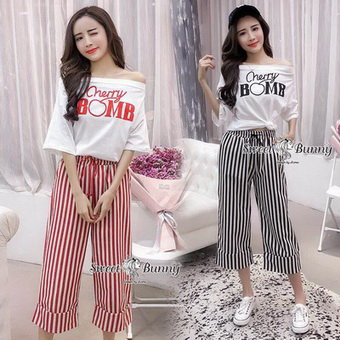 เซ็ทวอล์มเสื้อ+กางเกงเกาหลี