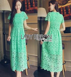Lady Ribbon Lady Penelope Elegant Feminine Minty Lace Maxi Dress เดรสยาวผ้าลูกไม้