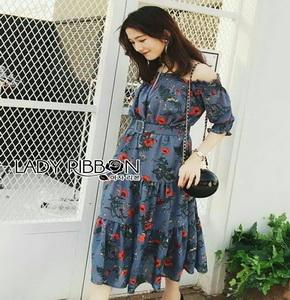 Lady Ribbon Cotton Dress ขายเดรสผ้าคอตตอน