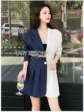Lady Serena Two-Tone Striped Suit Dress