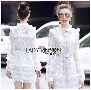 Mini Dress เดรสผ้าลูกไม้สีขาวตกแต่งริบบิ้น