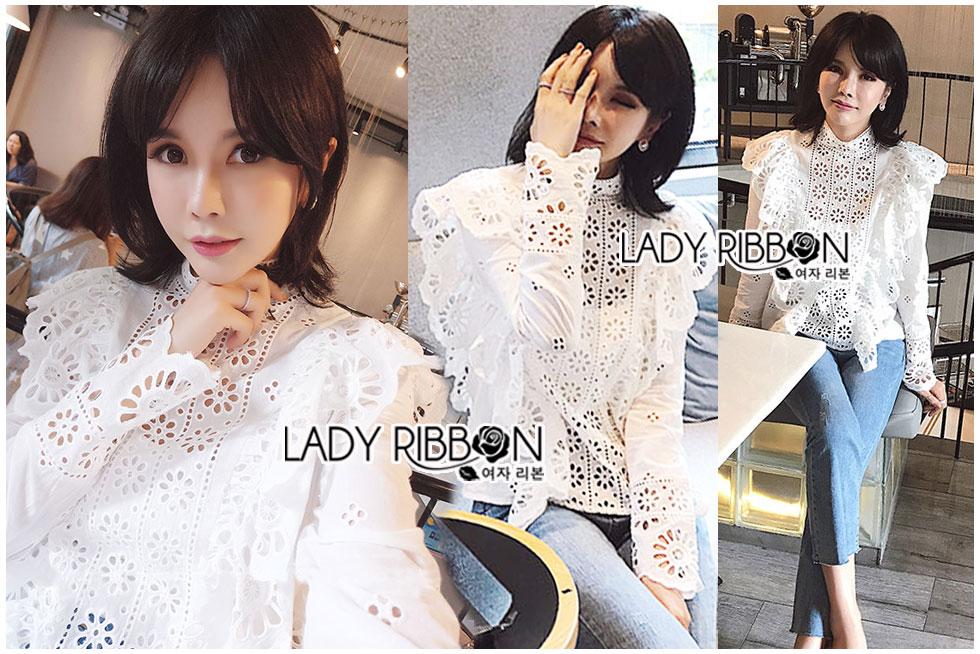 เสื้อแฟชั่นเกาหลีคอตตอนสีขาวทรงคอสูงฉลุลาย