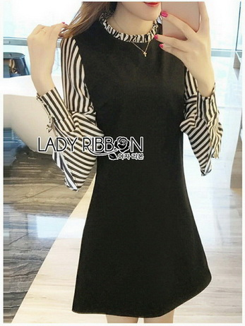 Lady Anna Striped and Plain Black Dress