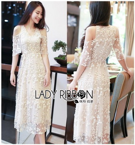 Lady Ribbon Floral Embroidered Tulle Dress