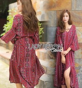 Lady Ribbon Kay Casual Bohemian Printed Flared-Sleeve Dress with Feather Belt