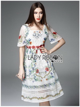 Floral Printed Lace Embroidered Polyester Dress