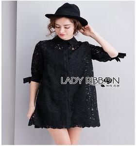 Lady Ribbon Lady Monica Sweet Minimal White Lace Shirt Dress