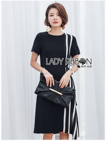 Lady Andra Plain and Striped Asymmetric Black Dress