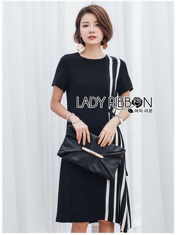 Lady Andra Plain and Striped Asymmetric Black Dress