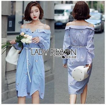 Lady Helena Off-Shoulder Shirt Dress