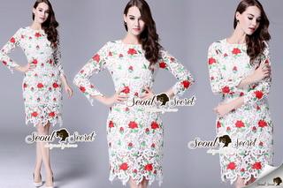 SS14010916 Seoul Secret Say's... High Fashion D&G Red Floara Lace Dress Material : สวยหรูดู