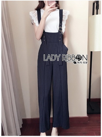 Overall Jumpsuit with Lace Knit