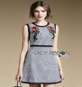 Checked Cotton Dress Lady Ribbon เดรสแขนกุด