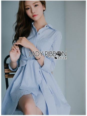 Lady Jamie Mix-Striped Ribbon Twisted Cotton Dress